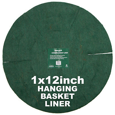 "Hanging Basket Planter Liner 12"" Inch Soft Natural Fibre Insert Green Jem Hbbl12"