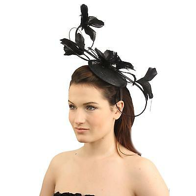 Handmade Elegant Feather Floral Headband Fascinator Millinery Cocktail Hat Black