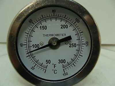 "2"" BIMETAL THERMOMETER BACK MOUNT 2.5"" STEM 1/4"" NPT 50 Degrees F~300 Degrees F"