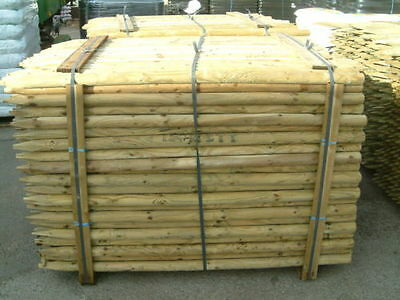 2.4m (8ft) x 50mm MACHINED ROUND POINTED TANILISED FENCE POSTS / TREE STAKES