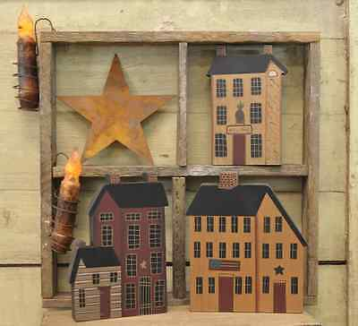 Primitive Country Rustic 3 Piece Set Wooden Saltbox  Cabin Houses