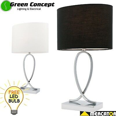 NEW Mercator Campbell Touch Table Bedside Lamp A27811 White or Black Chrome Base