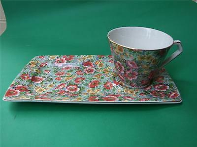 Vintage Lord Nelson Ware TV Cup Biscuit Tray Set  w  Rose /Chintz  Design 1940.s