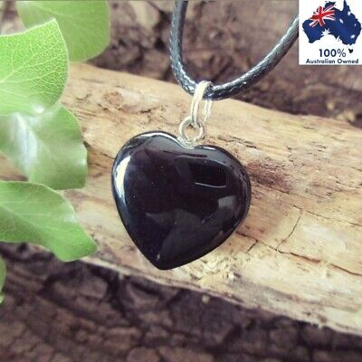 BLACK AGATE Crystal Healing Heart YING YANG ~ ANXIETY Gemstone Pendant Necklace