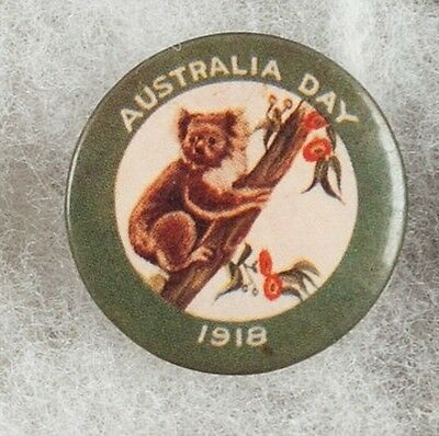 World War One Australia Day 1918 Koala Bear Pinback Button Badge -  Very Scarce