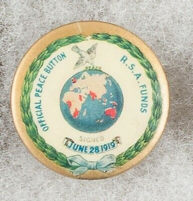 World War One Australian Official Peace Button R.S.A. Funds Pinback Button Badge