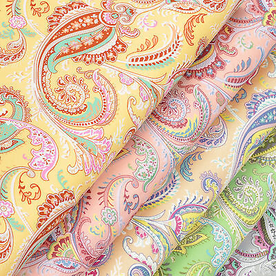 Cotton Fabric per FQ Vintage Paisley Retro Floral Dress Quilting FabricTime VK58