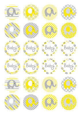 24 assorted Elephant Yellow Baby Shower 4cm round cupcake edible images toppers