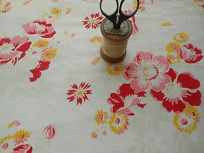 Lovely 30's Antique French Shabby Cottage Floral Cotton Fabric ~Pink Red Yellow