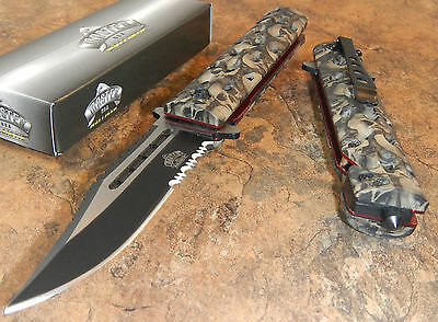 MASTER Spring Assisted Open SAWBACK BOWIE Tan Skull CAMO Rescue Pocket Knife NEW