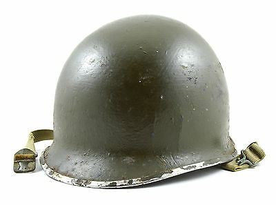 Original U.S. Navy Early WWII Fixed Loop M1 Helmet Shell With Chinstraps