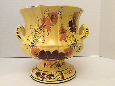 Vintage Large Paul Hanson Yellow Urn Vase Hand Painted Flowers Italy