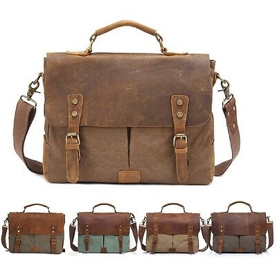 Men's Leather Canvas Laptop Messenger Shoulder Bag  Business Briefcase Satchel