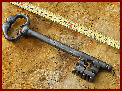 RARE old antique French large,huge key 18 th century,wrought iron ,church castle