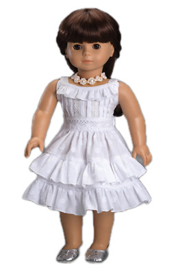 "Doll Clothes 18"" Dress Fleur Blanc by Carpatina Made For American Girl Dolls"