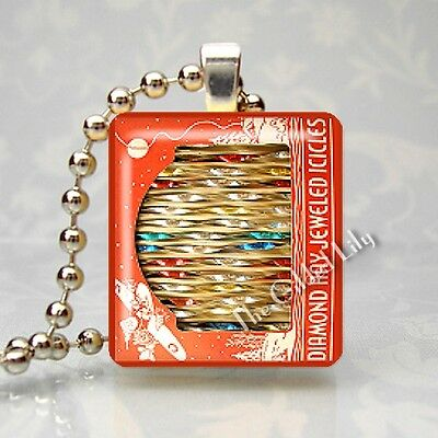 VINTAGE DIAMOND RAY ICICLES ORNAMENTS Altered Art Scrabble Tile Pendant Jewelry