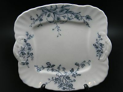 Antique W H Grindley & Co England Rustic Blue & White Dish Early 1900's Square