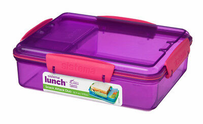 Sistema 975ml Multi Compartment Snack Attack Duo Lunch Box Container Purple