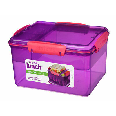 Sistema 2.3L Lunch Tub Box Storage Container c/w Multi Compartment Insert Purple