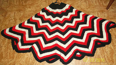 70's Vintage crochet WOOL Poncho thick jumper - freesize - festival indie boho