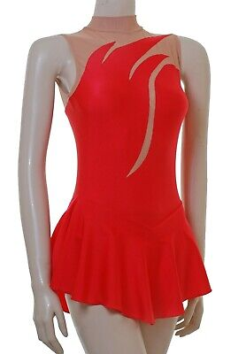 Skating Dress - RED LYCRA / BODYSTOCKING - (S111) N/S