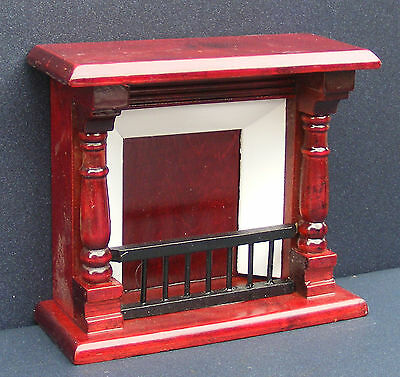 1:12 Scale Wooden Mahogany Fire Place Dolls House Miniature Fireplace  124M