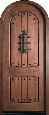Solid Wood Knotty Alder Entry Door Single Prehung Medium Mahogany Finish 595
