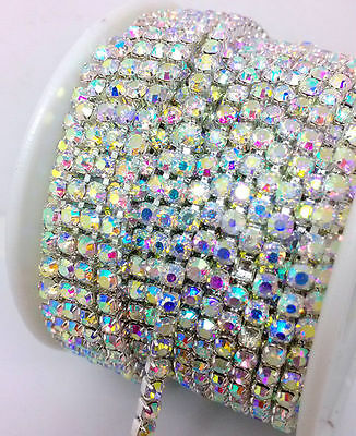 1MTR SS6 - SS16 Clear AB Rhinestone Chain Trims Silver Diamante Crystal Browband