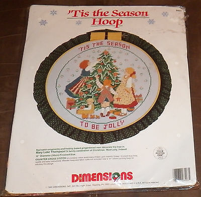 NEW Dimensions Counted Cross Stitch Kit Christmas Tis Season Hoop Be Jolly 8403