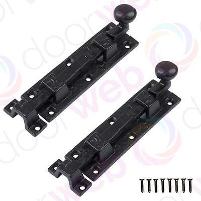 2 PACK BLACK DOOR BOLTS Antique Iron Straight Sliding Slide Bolt Knob Heavy Duty