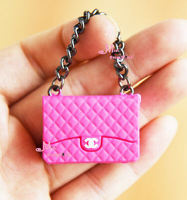 1/6 Scale Dollhouse Miniature Rose Red Metal Chain TOy Plastic Lady Handbag Bag