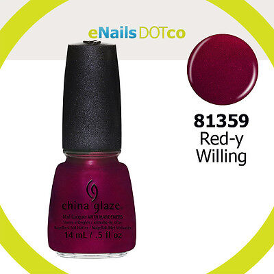 China Glaze Polish -  Red-Y & Willing- Red Shimmer CG81359 .5oz