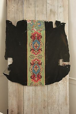 Antique French Needlepoint Arts and Crafts Gothic flair  black velvet chair