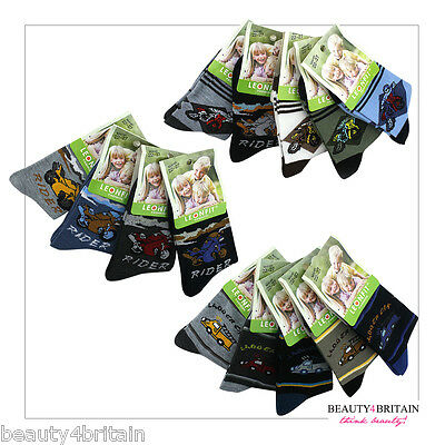 6 PAIRS x BOY SOCKS COTTON RICH 95% 3 SIZES MIXED DIFFERENT DESIGNS FROM UK