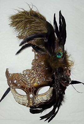 Womens Feathers Ball Lace Mardi Gras Masquerade Mask with Gems - One Size