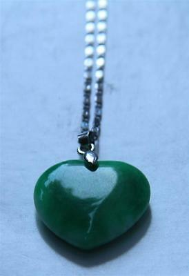 Very Beautiful  Chinese Jade (?) Heart Pendant With Silver Necklace