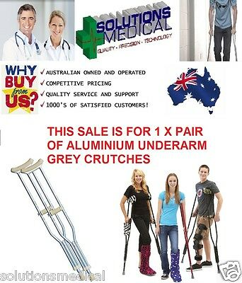 Crutches Aluminium Underarm With Adjustable Height Positions (1 Pair)