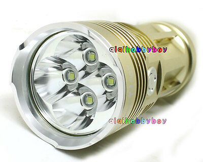 Gold SKYRAY 4x CREE XM-L T6 LED 7200 Lumens 4x 18650 battery Flashlight Torch