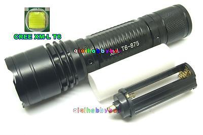 Outdoor Walking CREE XML T6-875 LED 1800LM Zoomable Zoom Flashlight Torch Black