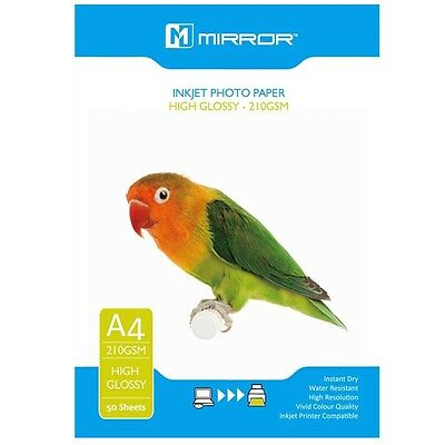 Mirror 210Gsm High Gloss / Glossy Coated Inkjet Photo Paper A4 / 50 Sheet Pack