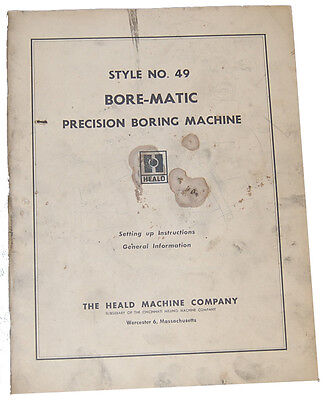 Heald Bore-Matic 49, Boring Machine, Operations Instructions Manual