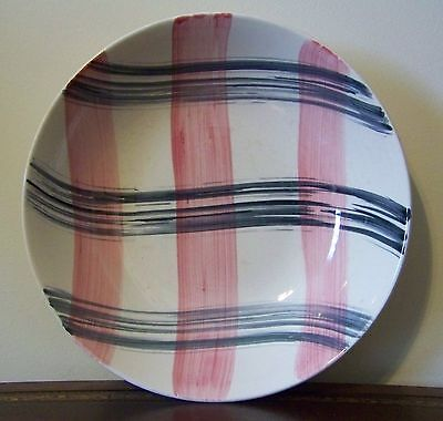 "Stetson China Scots Clan 9"" Round Vegetable Bowl Pink Charcoal Plaid Vintage"