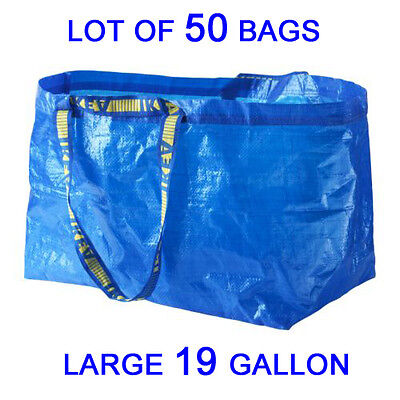 LOT OF 50 IKEA NEW LARGE REUSABLE SHOPPING BAG - LAUNDRY TOTE - GROCERY  FRAKTA