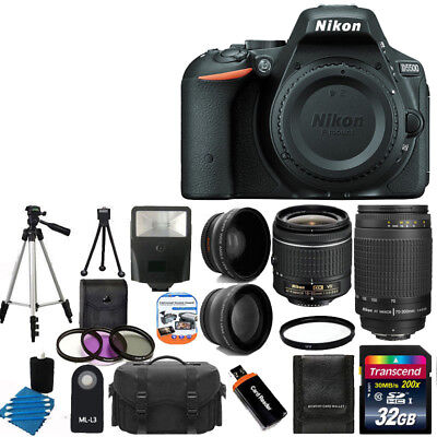 NEW Nikon D5500 Digital SLR Camera +4 Lens 18-55mm VR 70-300 + 32GB Complete Kit