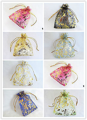 50pcs Organza Wedding Party Gift Jewellery Bags Pouches 9.5x11.5cm Rose 9 Colour