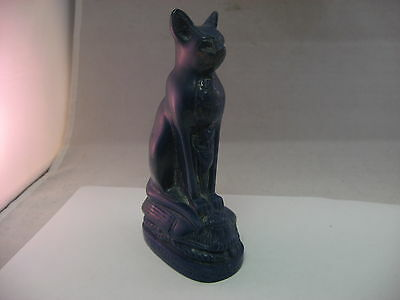 "Great Egyptian Design Blue Gold Speckle Cat Figurine 5.75"" Tall"