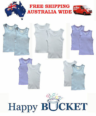 NEW Baby Toddler Infant Girls Boys Singlet Cotton Tee Top 2 pk,size 000,00,0