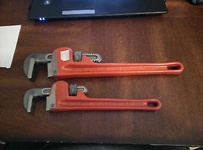 "set of two craftsman pipe wrenches 10"" and 14"" made in usa"