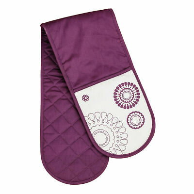 New Double Oven Glove 100% Cotton Insulated Home Kitchen Oriental Design