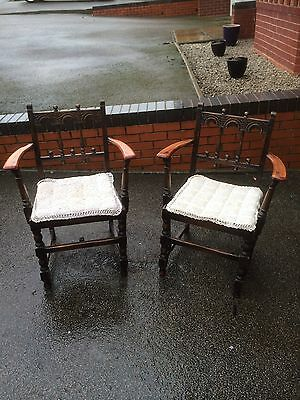 Pair Of Lovely Vintage Ercol Yorkshire Colonial Style Carver  Chairs